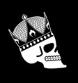 skull in crown head of skeleton of king death of vector image