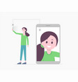 smiling cartoon girl taking selfie vector image vector image