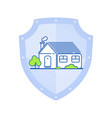 white house on shield flat vector image vector image