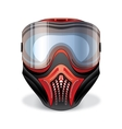 Red and black paintball mask with transparent vector image