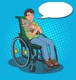 disable handicapped boy in wheelchair pop art