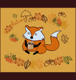 autumn with a fox character vector image vector image