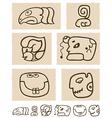 Aztec style comic icon set vector image vector image