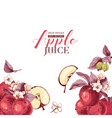background with hand drawn apple fruits and vector image vector image