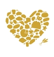Bakery concept love heart sketch for your design vector image