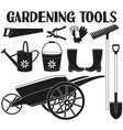 black and white garden silhouette set 9 elements vector image