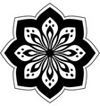 black flower design on white background vector image