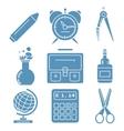 Black school goods light blue linear icons Part vector image vector image