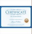 blue certificate retro template vector image vector image