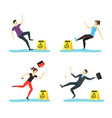 cartoon caution wet floor with people characters vector image vector image
