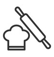 chef hat and dough rolling pin simple food icon vector image