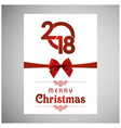 christmas card with red ribbon bow vector image vector image