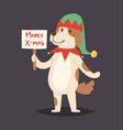 christmas dog cute cartoon puppy character vector image