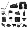 country scotland black icons in set collection for vector image vector image
