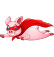cute superhero pig cartoon vector image