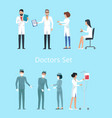 doctors set icons on blue vector image vector image