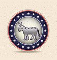 donkey inside button of vote concept vector image vector image