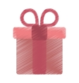 drawing pink gift box with heart and bow vector image vector image