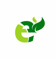 e letter with green leaf logo vector image