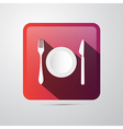 Eating Icon Fork Plate and Knife vector image