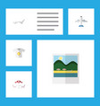 flat icon summer set of recliner aircraft vector image vector image