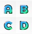 font alphabet set letters a b c d gradient color vector image