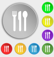 fork knife spoon icon sign Symbol on five flat vector image vector image