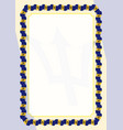 frame and border of ribbon with barbados flag vector image