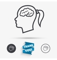Head with brain sign icon Female woman head vector image vector image