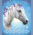 horse portrait with flowers2 vector image vector image