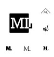 initial letter ml isolated logo black template vector image vector image