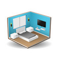 interior isometric modern bedroom interior vector image vector image