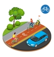 Isometric Bicycle road sign and bike riders vector image vector image