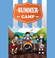 kids in a band summer camp flyer vector image vector image