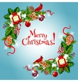 Merry Christmas fir holly bow garlnds card vector image
