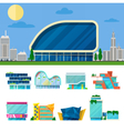 Modern Shopping Mall Buildings Architectural Set vector image vector image