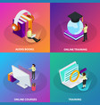 online learning 2x2 design concept vector image