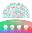 online medicine concept in half circle vector image vector image