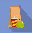packed lunch icon flat style vector image