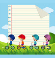 paper template with kids cycling in the park vector image vector image