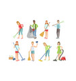 people cleaning gathering waste for recycling vector image vector image