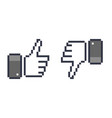 pixel thumb up 8 bit icon like and dislike vector image vector image