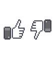 pixel thumb up 8 bit icon like and dislike vector image