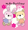 rabbit and bear with flower background vector image vector image