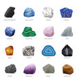 realistic stone mineral icon set vector image