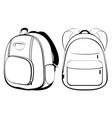 school backpack in black and white vector image vector image