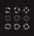 sets white circle arrows on black background vector image vector image