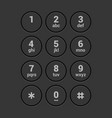 smartphone dial keypad screen on dark background vector image