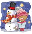 snowman and cute cartoon teddy bear girl vector image vector image