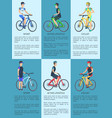sport cyclist and active lifestyle set of posters vector image vector image
